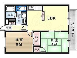 モアクレスト白鷺 3階2LDKの間取り