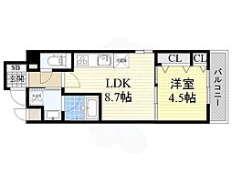 JR東海道・山陽本線 摂津富田駅 徒歩14分の賃貸マンション 5階1LDKの間取り