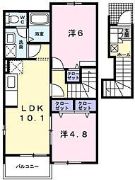 メゾン・ルミエールF[2階]の間取り