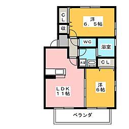 フレグラント A[2階]の間取り