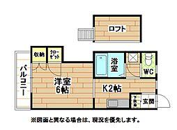 福岡県北九州市八幡西区東折尾町の賃貸アパートの間取り