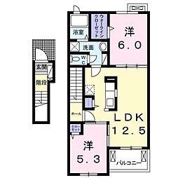 JR鹿児島本線 熊本駅 バス54分 五霊中学校下車 徒歩9分の賃貸アパート 2階2LDKの間取り