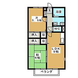 エクセレント熊野[2階]の間取り