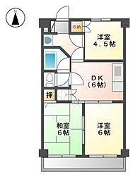 愛知県名古屋市瑞穂区中根町2丁目の賃貸マンションの間取り