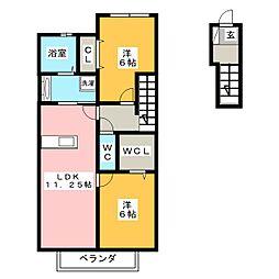 愛知県岡崎市上地町字西田の賃貸アパートの間取り