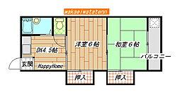 八戸ノ里駅徒歩4分 吉岡マンション[505号室]の間取り