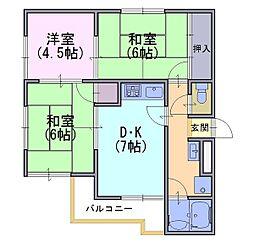 ハイツ山茶花[2階]の間取り