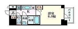 Osaka Metro谷町線 谷町六丁目駅 徒歩6分の賃貸マンション 2階1Kの間取り