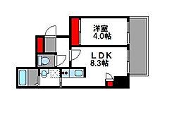 西鉄貝塚線 西鉄香椎駅 徒歩5分の賃貸マンション 7階1LDKの間取り