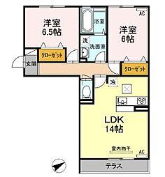 JR福塩線 高木駅 徒歩10分の賃貸アパート 1階2LDKの間取り