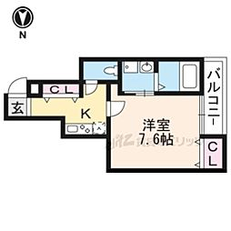 阪急京都本線 大宮駅 徒歩5分の賃貸アパート 2階1Kの間取り