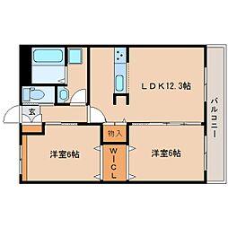 近鉄橿原線 田原本駅 徒歩29分の賃貸マンション 2階2LDKの間取り