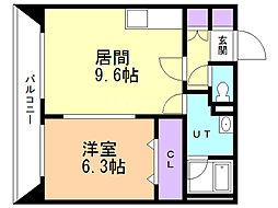 Aoi BLD 610 3階1DKの間取り