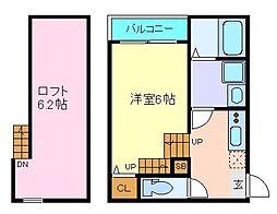 JR仙石線 苦竹駅 徒歩5分の賃貸アパート 1階1Kの間取り