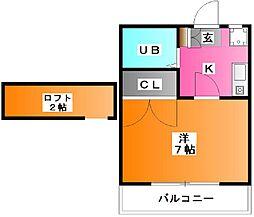 ミシマ壱番館[202号室]の間取り