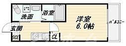 Osaka Metro御堂筋線 西田辺駅 徒歩15分の賃貸マンション 3階1Kの間取り