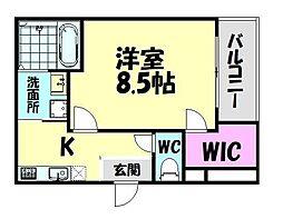 南海線 北助松駅 徒歩9分の賃貸アパート 1階1Kの間取り