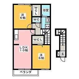 ウエスト・ヴィレッジII[2階]の間取り