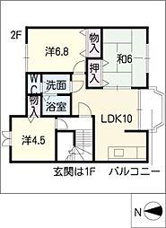 コスモスクェアB[2階]の間取り