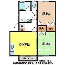 コーポ平岡A[2階]の間取り