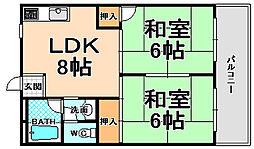 兵庫県伊丹市奥畑2丁目の賃貸マンションの間取り