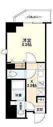 都営大江戸線 清澄白河駅 徒歩13分の賃貸マンション 7階1Kの間取り
