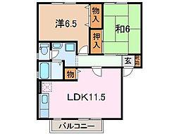 静岡県沼津市下香貫八重の賃貸アパートの間取り