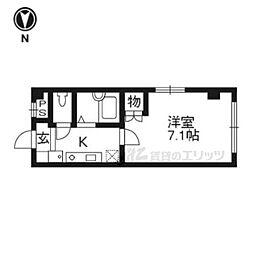 阪急京都本線 桂駅 徒歩9分の賃貸マンション 1階1Kの間取り