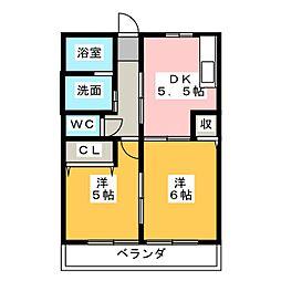 フジハイツ A[1階]の間取り