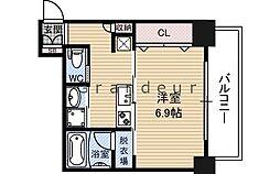 ドムス蒲生 11階ワンルームの間取り