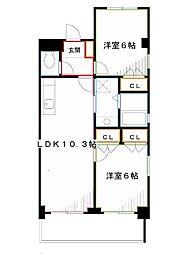 JR中央本線 吉祥寺駅 バス8分 NTTデータビル下車 徒歩4分の賃貸マンション 2階2LDKの間取り