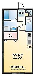 JR上越線 高崎問屋町駅 徒歩3分の賃貸アパート 1階ワンルームの間取り