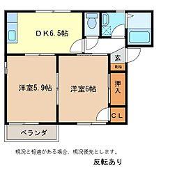 ディアスキタコーB棟[1階]の間取り