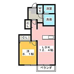 メゾンヌーベル[1階]の間取り