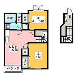 静岡県焼津市下小田中町の賃貸アパートの間取り