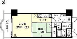 1LDK 和室6畳 LDK約13.5畳