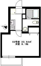 b'CASA Yokohamaminami[202号室号室]の間取り
