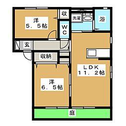 ガーデンクレス B棟[1階]の間取り