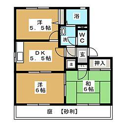 テクノハイツ藤 D[1階]の間取り
