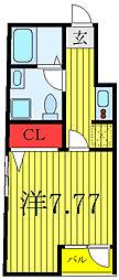 JR山手線 田端駅 徒歩15分の賃貸マンション 2階1Kの間取り