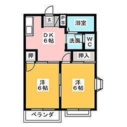コーポフォレスト B[2階]の間取り