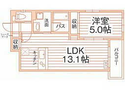 JR山陽本線 岡山駅 徒歩8分の賃貸マンション 3階1LDKの間取り