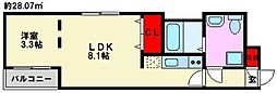 Branche高宮 3階1LDKの間取り