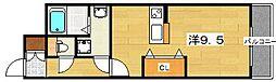 ミハマレジデンス枚方 7階ワンルームの間取り