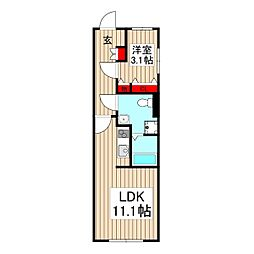グローリオシェルト成増 4階1LDKの間取り