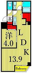 つくばエクスプレス 浅草駅 徒歩10分の賃貸マンション 2階1LDKの間取り