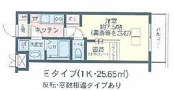 The Well Mejiro 1階1Kの間取り