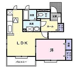 JR山陽本線 新井口駅 徒歩15分の賃貸アパート 1階1LDKの間取り