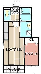 ロデスマン三萩野[101号室]の間取り