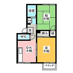 三重県四日市市楠町南五味塚の賃貸アパートの間取り